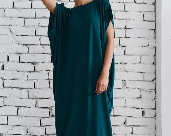 Loose Maxi Dress/Petrol Green Kaftan/Casual Long Dress/Oversize Dark Green Tunic/Plus Size Maxi Dress/Elegant Summer Dress METD0055
