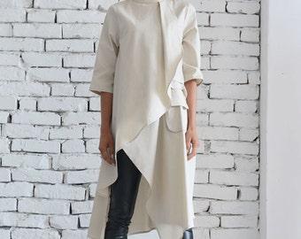 Beige Asymmetric Shirt/Extravagant Oversize Tunic/Half Sleeve Casual Top/Short Maxi Dress/Cream Loose Shirt Dress by METAMORPHOZA