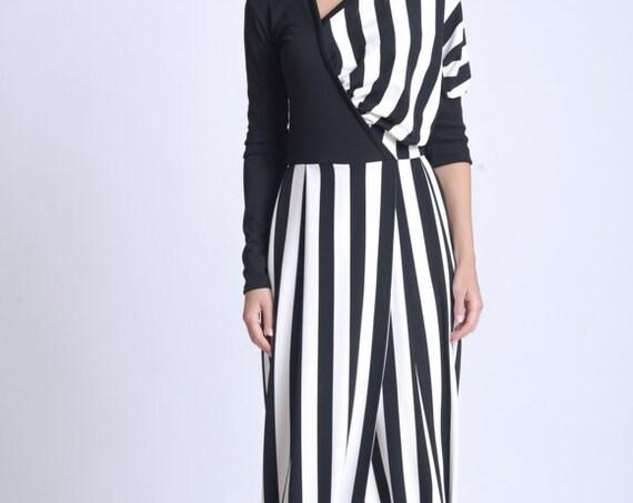 NEW Monochrome Long Dress/Extravagant Black and White Stripe Dress/Slimming Vertical Stripe Dress/Long Sleeve Casual Dress/Calf Length Dress