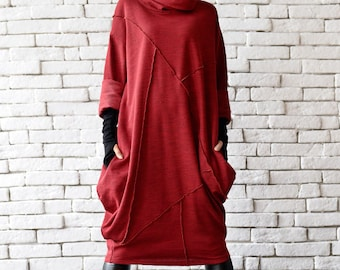 Red Loose Tunic/Oversize Red Dress/Red Maxi Dress/Long Sleeve Winter Dress/Red Maxi Dress/Plus Size Maxi Dress/Long Tunic Top/Red Tunic