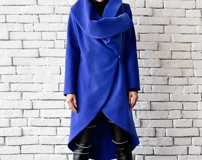 Blue Cashmere Coat/Long Elegant Coat/Asymmetric Blue Jacket/Casual Winter Coat/Loose Blue Cardigan/Large Collar Warm Jacket/Blue Maxi Coat
