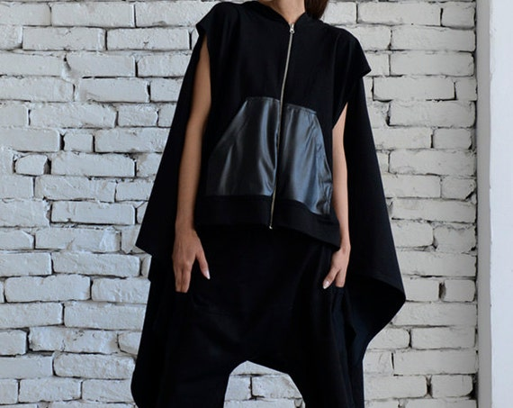 Black Loose Sport Set/Zipper Black Maxi Top/Oversize Harem Pants/Short Black Pants/Plus Size Unisex Set/Urban Style Street Outfit