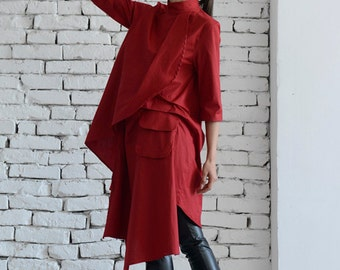 Asymmetric Red Shirt/Long Loose Tunic/Extravagant Summer Dress/Short Sleeve Casual Top/Red Maxi Dress/Plus Size Tunic/Red Pocket Shirt
