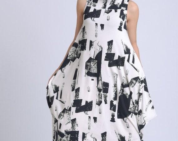 NEW Extravagant Abstract Pattern Dress/Long Loose Dress/Sleeveless Maxi Dress/Plus Size Long Dress/Comfortable Casual Kaftan METD0150