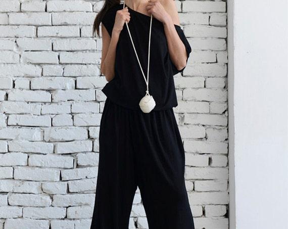 Black Sleeveless Jumpsuit / Wide Leg Pants / Black Loose Jumpsuit / Oversize Harem Pants / Summer Casual Jumpsuit by METAMORPHOZA