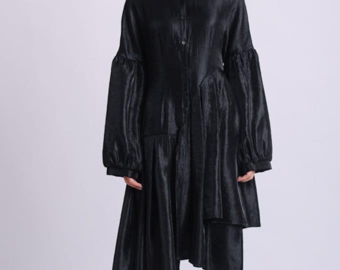 NEW Extravagant Tunic Shirt/Oversize Long Sleeve Top/Loose Long Blouse/Pleated Black Tunic/Asymmetric Plus Size Top/Long Sleeved Tunic
