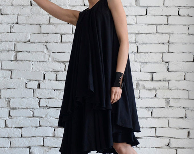 Asymmetric Loose Black Short Dress/Maxi Black Dress/Sleeveless Summer Dress/Long Tunic Top/Black Tunic Dress/Sexy Maxi Dress/Long Top