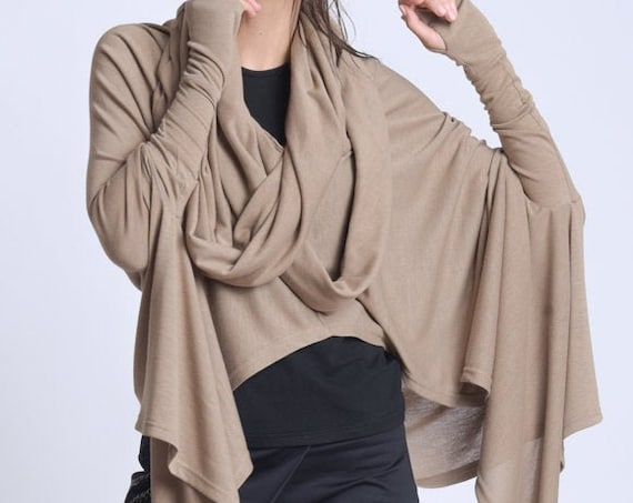 NEW Oversize Loose Tunic Scarf/Draped Extravagant Collar Top/Plus Size Asymmetric Tunic/Extravagant Casual Blouse/Long Sleeve Loose Shirt