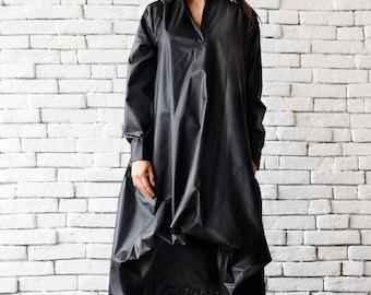 Maxi Black Dress /  Long Sleeve Asymmetric Dress / Black Kaftan / Black Two Face Dress / Loose Oversize Tunic Top by METAMORPHOZA