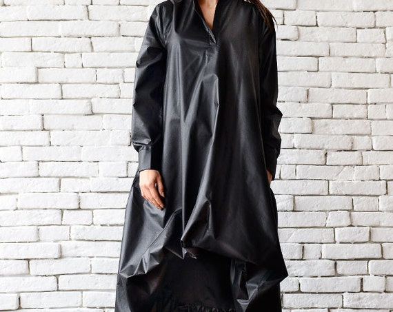 Maxi Black Dress /  Long Sleeve Asymmetric Dress / Black Kaftan / Black Two Face Dress / Loose Oversize Tunic Top by METAMORPHOZA
