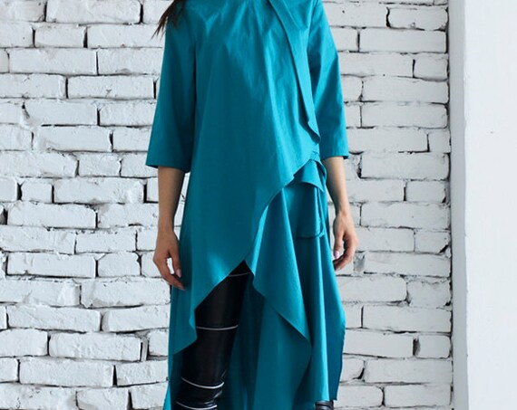 Extravagant Asymmetrical Shirt / Turquoise Loose Dress / Plus Size Top / Green Long Tunic Top