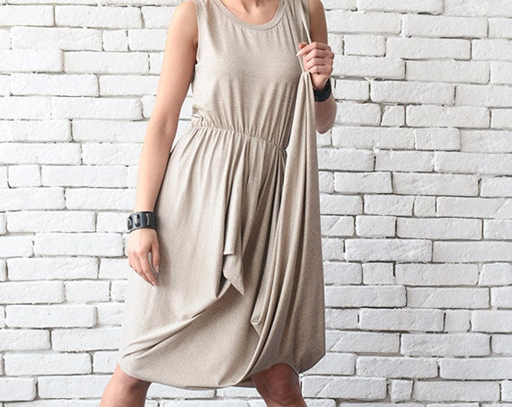 Soft Beige Asymmetric Summer Dress/Extravagant Short Dress/Loose Casual Tunic Dress/Long Sleeveless Tunic/Comfortable Everyday Beige Dress