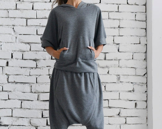 Grey Loose Set/Hooded Casual Top/Grey Harem Pants/Extravagant Grey Tracksuit/Handmade Maxi Tracksuit/Grey Clothing Set METJ0006