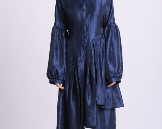 NEW Long Loose Tunic Top/Pleated Asymmetric Shirt/Extravagant Oversize Sleeved Top/Blue Medieval Shirt/Plus Size Tunic Dress/Taffeta Shirt