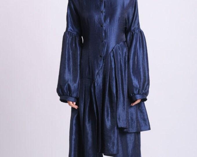 NEW Long Loose Tunic Top/Pleated Asymmetric Shirt/Extravagant Oversize Sleeved Top/Blue Medieval Shirt/Plus Size Tunic Dress/Taffeta Shirt