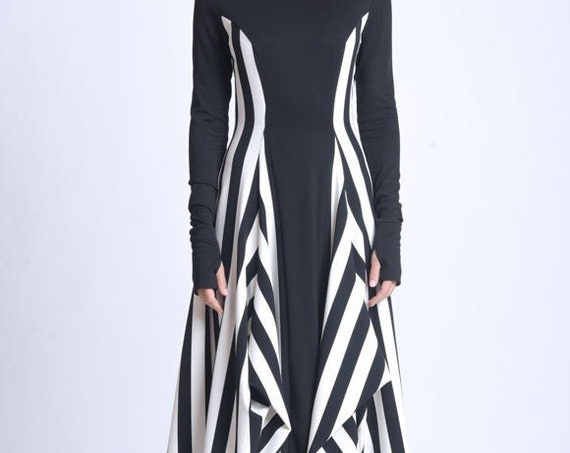 NEW Black and White Zipper Dress/Extravagant Vertical Pattern Dress/Long Sleeve Asymmetric Dress/Comfortable Casual Dress METD0139