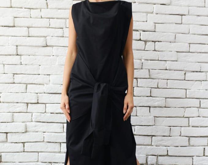 4e543b50a443 Long Black Dress Extravagant Sleeveless Kaftan Front Ribbon Loose Dress Oversize  Black Tunic