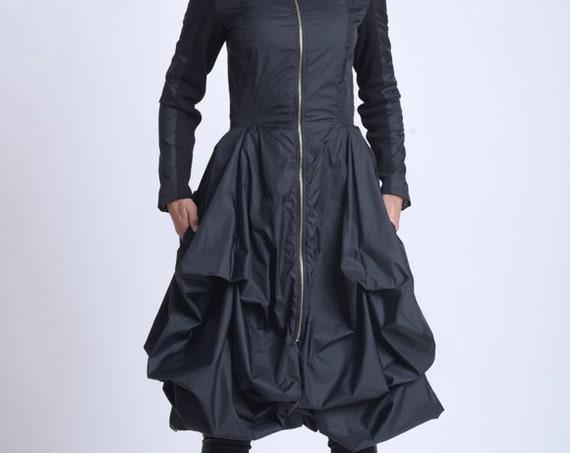 NEW Asymmetric Dress Coat/Loose Modern Zipper Jacket/Extravagant Draped Jacket/Knee Length Coat/Black Elegant Coat/Feminine Dress Jacket