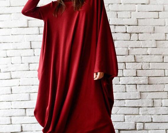 Red Maxi Dress/Loose Kaftan/Comfortable Dress/Oversize Tunic Dress/Red Long Dress/Long Sleeve Casual Dress/Winter Dress METD0018