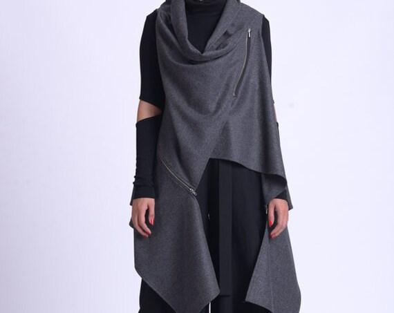 NEW Extravagant Asymmetric Top/Grey Loose Vest/Sleeveless Maxi Tunic/Oversize Long Vest/Wool Sleeveless Coat/Plus Size Fall Vest METT0175