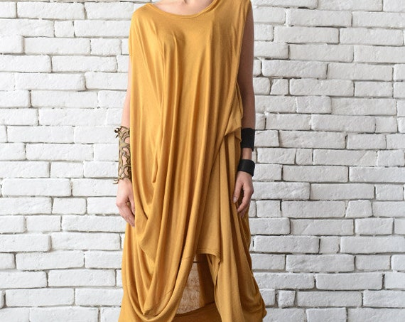 Mustard Loose Tunic/Extravagant Short Dress/Loose Casual Long Top/Comfortable Day Dress/Yellow Maxi Dress/Sleeveless Casual Asymmetric Tunic