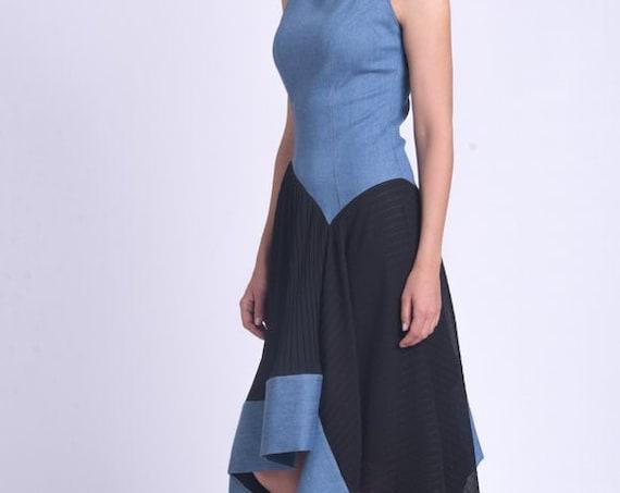 Extravagant Long Dress/Asymmetric Lined Dress/Contrasting Colors Dress/Sleeveless Summer Dress/Wide Hem Dress/Occasion Dress METD0157