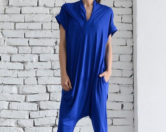 Royal Blue Summer Jumpsuit/Loose Harem Pants/Blue Maxi Jumpsuit/Casual Open Back Sleeveless Suit/Summer Loose Jumpsuit by METAMORPHOZA