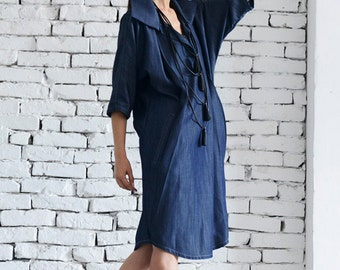 Denim Long Tunic / Blue Maxi Top / Tunic Dress with Collar / Denim Maxi Dress / Plus Size Shirt Dress by METAMORPHOZA