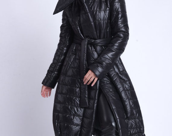 NEW Long Down Coat with Belt/Oversize Shiny Jacket/Black Puffer Coat/Casual Warm Puffy Coat/Cozy Collared Jacket/Winter Belted Coat METC0085