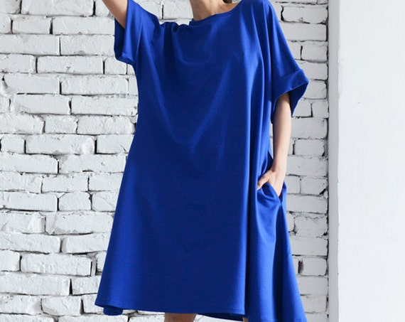 Short Blue Maxi Dress/Oversize Tunic Top/Casual Dress with Short Sleeves/Folded Sleeve Dress/Plus Size Maxi Dress/Long Blue Top/Maxi Dress