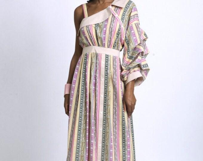 LIMITED EDITION Multi Color Long Dress/Loose One Sleeve Dress/Extravagant Colorful Kaftan/Naked Shoulder Party Dress/Wide Hem Summer Dress