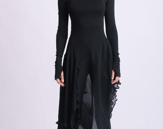Long Asymmetric Black top/Extravagant Casual Tunic/Thumb Hole Sleeve Blouse/Black Chiffon Top/Avant Garde Black Blouse METT0143