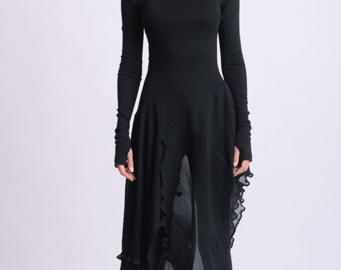 NEW Long Asymmetric Black top/Extravagant Casual Tunic/Thumb Hole Sleeve Blouse/Black Chiffon Top/Avant Garde Black Blouse/Long Fitted Top