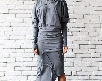 Grey Asymmetric Dress/Extravagant Casual Dress/Grey Loose Dress/Long Sleeve Tunic/Plus Size Dress/Comfortable Cotton Dress/Hooded Dress