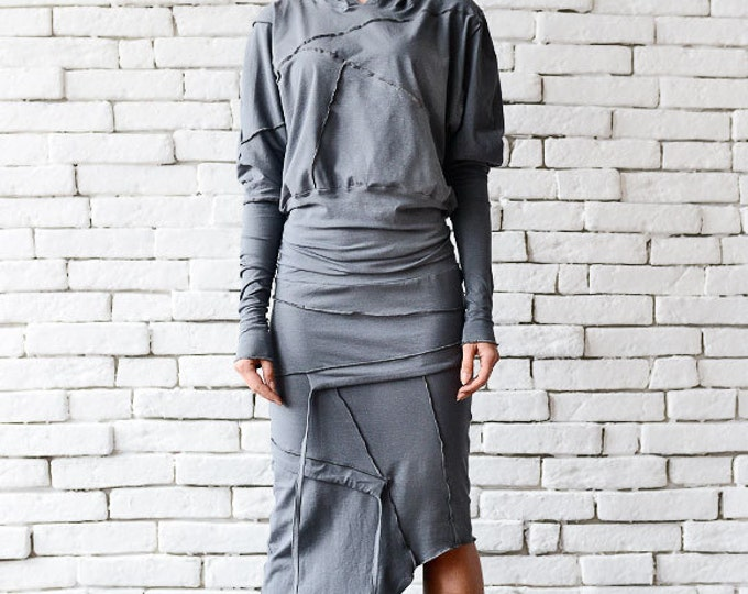 Grey Asymmetric Dress/Extravagant Casual Dress/Grey Loose Dress/Long Sleeve Tunic/Plus Size Dress/Comfortable Cotton Dress/Hooded Dress