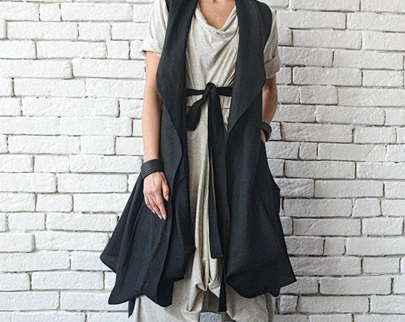Black Loose Tunic Top/Asymmetric Loose Vest/Sleeveless Linen Shirt/Casual Maxi Tunic/Extravagant Back Accent Top/Black Plus Size Long Top