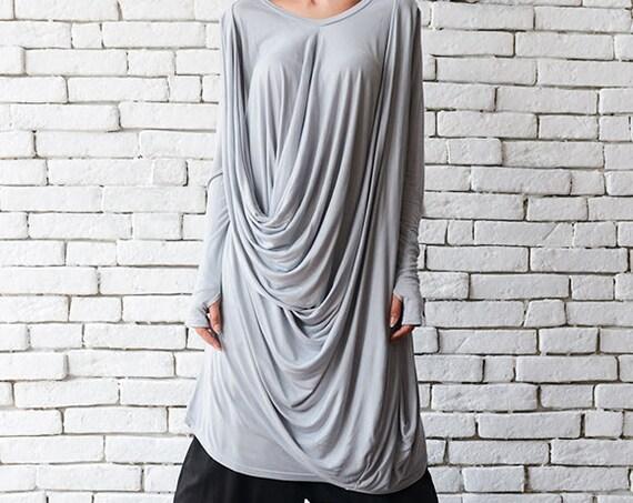 Light Grey Loose Tunic/Asymmetric Maxi Dress/Thumb Hole Sleeve Top/Plus Size Tunic Top/Extravagant Grey Shirt/Grey Oversize Sweatshirt