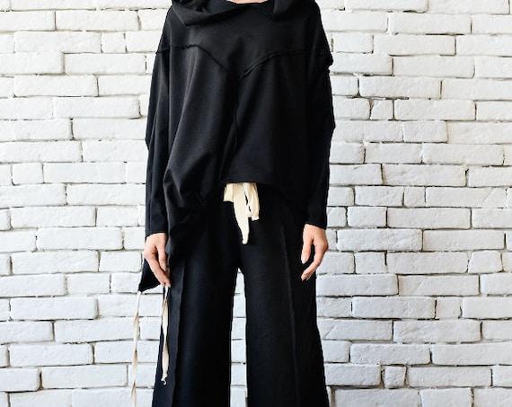 Black Loose Set/Oversize Black Tunic/Long Maxi Pants/Extravagant Tracksuit/Plus Size Pants/Black Maxi Tunic/Black Loose Hoodie/Casual Set