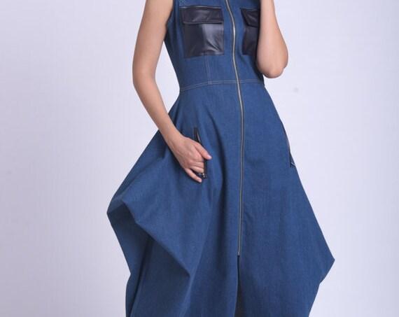 Long Asymmetric Denim Dress/Extravagant Pocket Dress/Denim Party Dress/Leather Pockets Sleeveless Dress/Denim Long Zipper Dress METD0158
