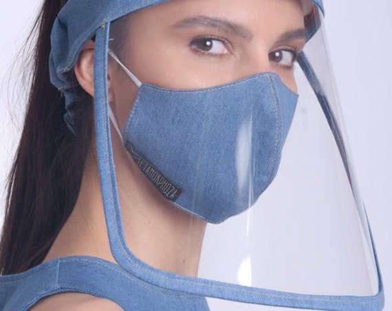 Denim Shield Mask/Comfortable Full Face Cover/Clear Plastic Shield/Everyday Face Shield/Elastic Band Face Shield/Reusable Protection Visor