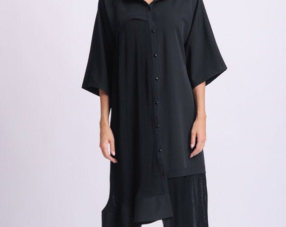 NEW Plus Size Maxi Shirt/Black Button Shirt/Collared Loose Tunic/Asymmetric Oversize Shirt/Wide Hem Tunic Top/Maxi Sleeves Shirt/Casual Top