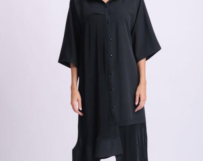 NEW Plus Size Maxi Shirt/Black Button Shirt/Collared Loose Tunic/Asymmetric Oversize Shirt/Wide Hem Tunic Top/Maxi Sleeves Shirt/Casual Top