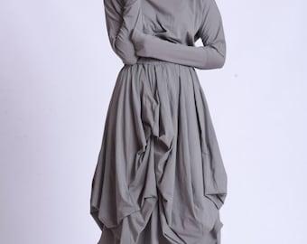 Loose Asymmetric Hooded Dress by METAMORPHOZA