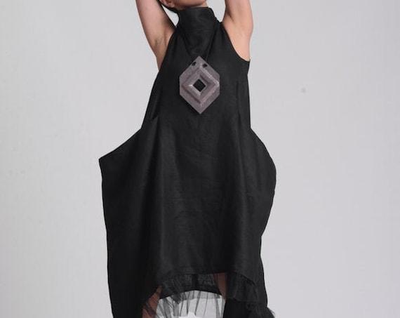 NEW Plus Size Dress / Black Linen Dress / Bohemian Dress / Black Maxi Dress / Sleevelee Linen Dress