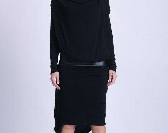 NEW Black Long Sleeve Dress/Leather Detail Dress/Extravagant Asymmetric Dress/Black Eco Leather Accent Dress/Draped Black Dress METD0146
