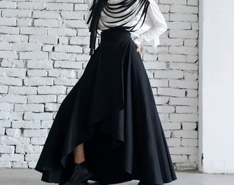 4f467c924c Maxi Black Skirt Asymmetric Loose Skirt Long Skirt Elegant Evening Skirt Classic  Modern Black Skirt Oversize Maxi Skirt High Waist Skirt