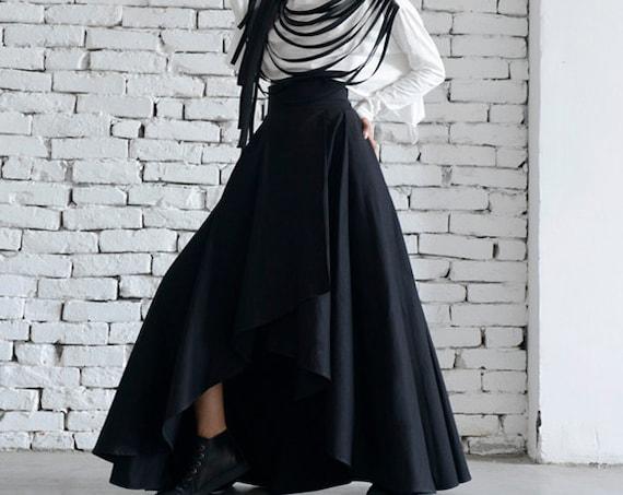 Maxi Black Skirt/Asymmetric Loose Skirt/Long Skirt/Elegant Evening Skirt/Classic Modern Black Skirt/Oversize Maxi Skirt/High Waist Skirt