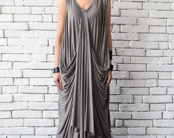 Asymmetric Maxi Dress/Oversize Loose Kaftan/Cream Grey Long Dress/Plus Size Maxi Dress/Sleeveless Casual Dress/Mocha Brown Long Party Dress