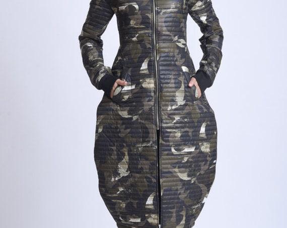 NEW Camouflage Long Coat/Extravagant Army Long Jacket/Green Military Coat/Camo Long Loose Coat/Warm Long Jacket/Casual Camo Coat METC0071