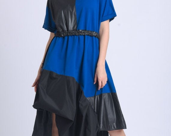 NEW Asymmetric Blue and Black Dress/Half Sleeve Tunic Dress/Extravagant Loose Dress/Round Neck Dress/Two Color Casual Dress METD0151